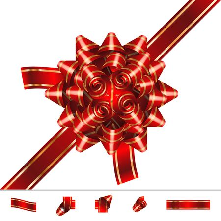 knotted: Red Bow-knot of solemn festive ribbon with curls and curves twists; Set of component elements