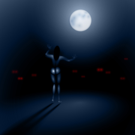 Girl-Sleepwalker in a dark night stretches his hands to the moon; peering out of the darkness of night monsters predatory eyes; No Mesh only Gradients Vectores