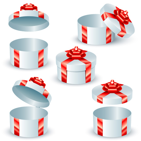 satin round: Set of round gift boxes with red satin ribbons and bows