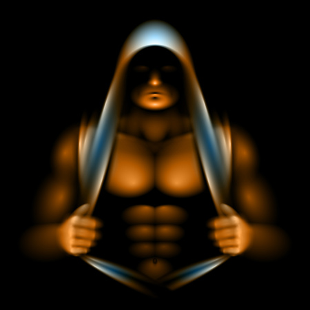 Athlete opened torso and looking out from under the hood; the incident light is illuminates the relief of muscles; No meshes only gradients