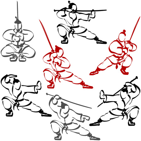 practiced: Samurai practiced in karate, they are holding katanas and fighting with swords; Set of ninjas; Hand-drawing