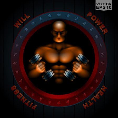 defiant: Athlete holds in hands dumbbells to build muscle; Emblem, medal for sports fitness club; No meshes, only gradients