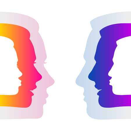 Man and woman hide true feelings by an indifferent neutral faces; Social relationships and communication between man and woman; Silhouettes of men and women faces with emotions