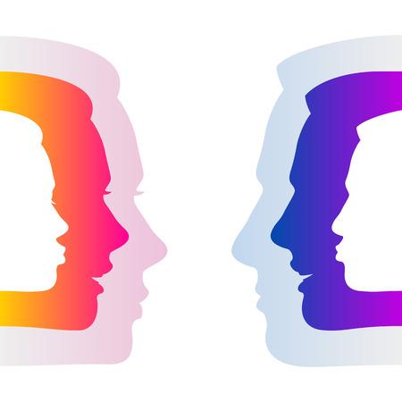 Man en vrouw te verbergen ware gevoelens door een onverschillige neutrale gezichten; Sociale relaties en communicatie tussen man en vrouw; Silhouetten van mannen en vrouwen wordt geconfronteerd met emoties
