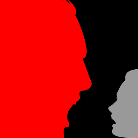 female domination: Domestic violence; Male domination over female; Social relationships and communication between man and woman; Silhouettes of men and women faces with emotions