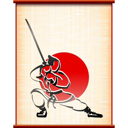 martial art: Samurai with katana in fighting stance on the background of ancient parchment; Traditional sports asian martial art; Hand-drawing of the ink painting style