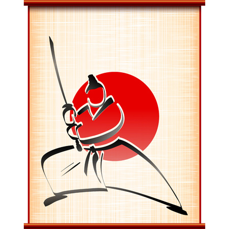 fighting stance: Samurai with katana in fighting stance on the background of ancient parchment; Traditional sports asian martial art; Hand-drawing of the ink painting style