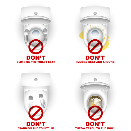Ensemble de cuvettes de toilettes avec des symboles d'avertissement et d'inscriptions pour les règles d'utilisation; Ne pas grimper, se tenir debout, au maculage, jeter