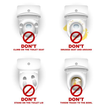 Zestaw WC miski z symboli ostrzegawczych i napisów dotyczących zasad użytkowania; Nie wspinać się, stać, rozmazywanie, rzucać