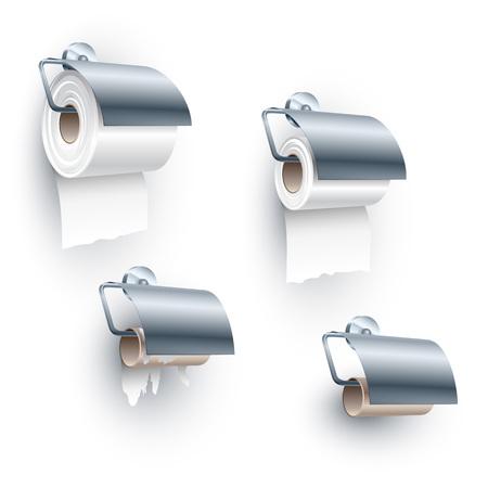 rotolo di carta igienica posto su un mandrino in una fase di back-rivolta sotto l'orientamento, di pieno, metà, fine e completamente chiusi; Insieme degli oggetti per il gabinetto