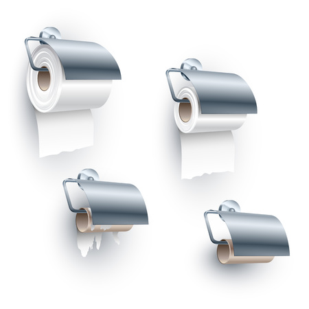 water closet: Toilet paper roll placed on a spindle in a back-facing under orientation, of full, half, ending and completely ended stages; Set of objects for the water closet Illustration