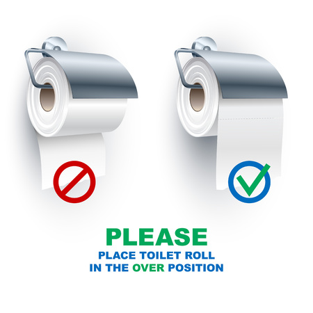 toiletries: Toilet paper roll place onto the holder in the under and over position; Rule for the correct placement of toiletries Illustration