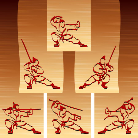 warlike: Samurai with katana; Set of ninjas with sword Illustration