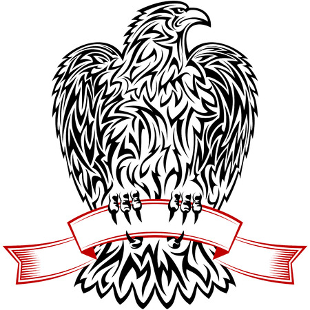 overbearing: Eagle looking to the left and holding the red ribbon