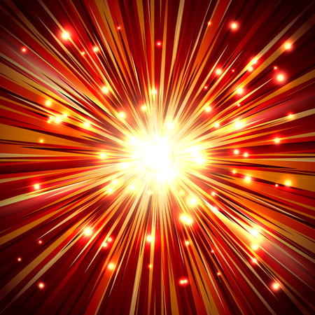 scattering: Shining a flash light with rays and sparkles; Abstract background of the fiery explosion and scattering rays; Release of powerful energy