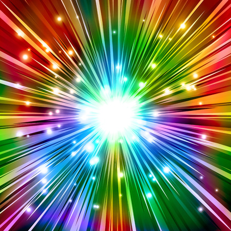 The Burst with rainbow rays and sparkles; Vector background of the explosion of powerful energy Illustration