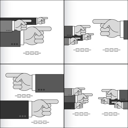 poke: Index fingers show the directions; Group of arrow signs from the pointing hands with forefingers in the sleeves of business suits; Vector set Illustration
