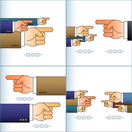 Index fingers show the directions; Group of arrow signs from the pointing hands with forefingers in the sleeves of business suits; Vector set Ilustração