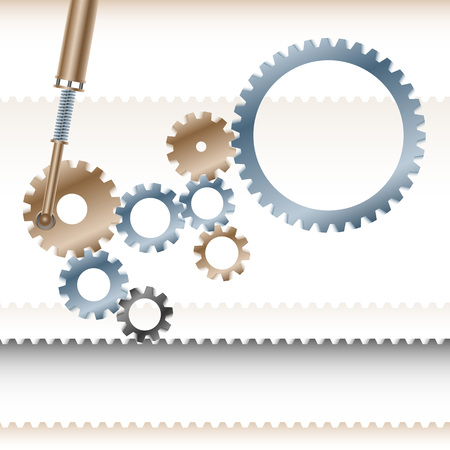 brass rod: Gear wheels the transmission gear rotate and move the conveyor belt; Business concept of teamwork cohesive organised team Illustration