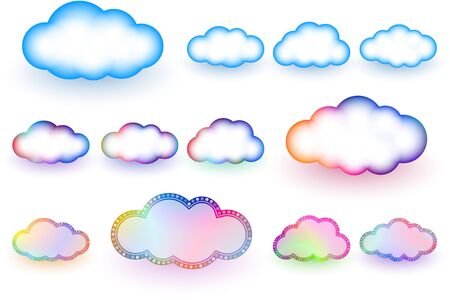 Clouds Shape Different Signs Elements And Symbols For A Weather