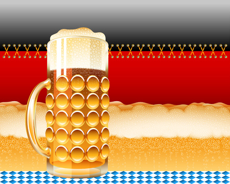 laced: Glass of beer and the German flag with a foamy lager; Concept design for the Oktoberfest; Vector background Eps10