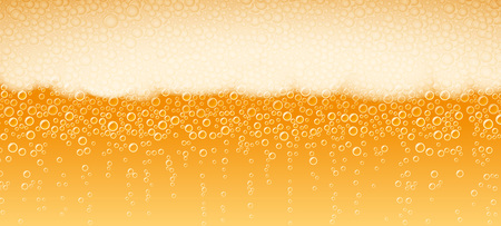 Beer with foam and bubbles of Lager Light Bitter varieties; Vector background