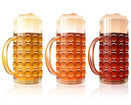 porter: Beer with foam in a Glass; Varieties of Beer - Light Lager, Cool Red, Dark Porter; Vector set