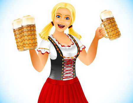 Oktoberfest Girl holds glasses of beer; Waitress in traditional German clothes; Blonde smiling; No Mesh Illustration