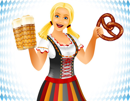 Oktoberfest Girl holds glass of beer and pretzel or brezel; Waitress in traditional German clothes; Blonde smiling Stock Illustratie