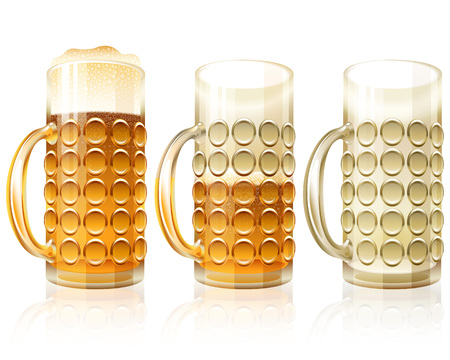 Beer glass in filled, half and empty variants; Traditional crockery of bars and of pubs Çizim