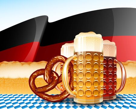 brimmed: Beer glasses and pretzel; Concept design for the Oktoberfest; German flag with yellow strip from foamy beer; Varieties of Beer - Light, Red, Dark