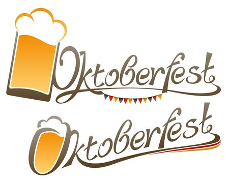 german beer: The inscription of the word Oktoberfest with a glass of beer; Type design of title-name of german Beer Festival