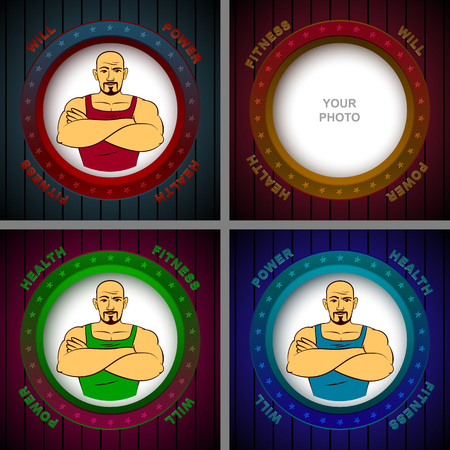 will: Athlete in the photo frame with the words of Will, Power, Fitness, Health; Vector set backgrounds