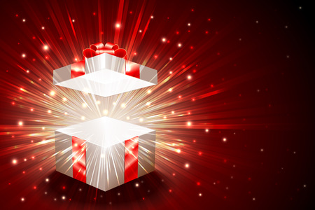Open gift box with shining exploding firework from glitter; For theme of christmas, new year, birthday gifts; Vector Background