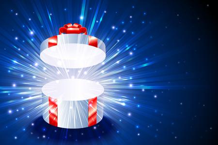 Abrir caja de regalo con el brillo de la explosión de fuegos artificiales de brillo para la decoración del tema de la Navidad Ilustración de vector