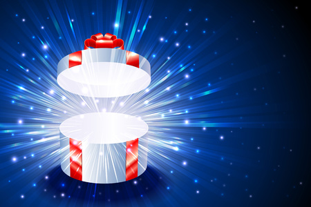 Open gift box with shining exploding firework from glitter for decoration of theme of Christmas Illusztráció
