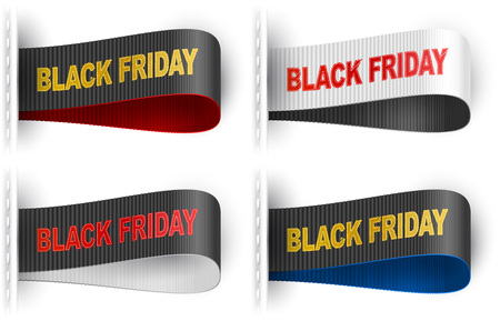 garments: Clothes labels tags with marketing phrase Black Friday for garments sales promotion and merchant service Illustration