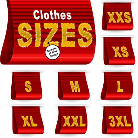 xs: Clothes size labels with standard designation symbols of garment dimensions for customers - XXS, XS, S, M, L, XL, XXL, XXXL; Font of symbols has design embroidered from threads Illustration