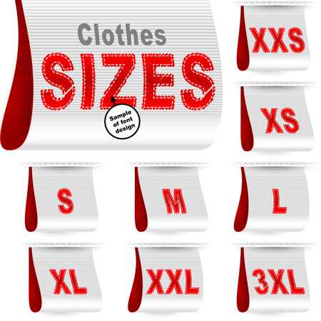 xl: Clothes size labels with standard designation symbols of garment dimensions for customers - XXS, XS, S, M, L, XL, XXL, XXXL; Font of symbols has design embroidered from threads; White Red vector set Eps10 Illustration