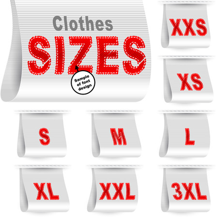 embroidered: Clothes size labels with standard designation symbols of garment dimensions for customers - XXS, XS, S, M, L, XL, XXL, XXXL; Font of symbols has design embroidered from threads; White vector set Eps10 Illustration