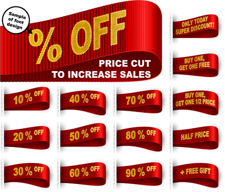 buy one: Clothes labels with percentage of price cuts and marketing phrases; Discount today only; Buy one, get one free gift; Half price; % off