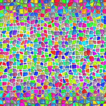 modernism: Mosaic wall in Gaudis style; The masonry of polygonal multicolored brilliant stones; Vector Background Illustration