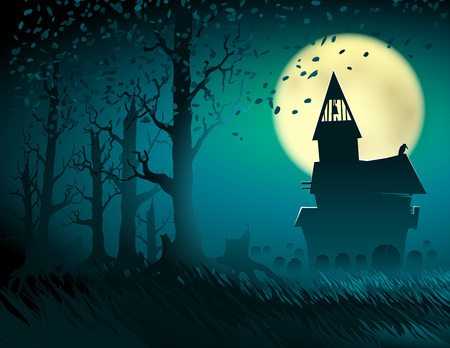Halloween scene with the moon and the old castle; Abandoned hut in the old forest with a cemetery and gravestones; Gloomy terrible otherworldly place; Vector backgrou