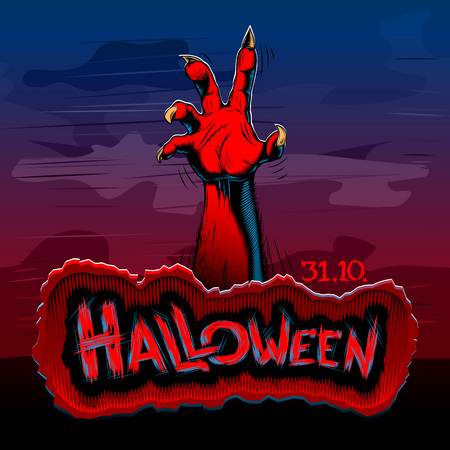Halloween background with rising zombie hand at night; Title of the evil spirits holiday is written on a stone plate; Hatching vecto