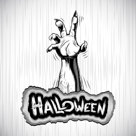 Hand of corpse zombie from grave - the halloween symbol; Vector background Illustration