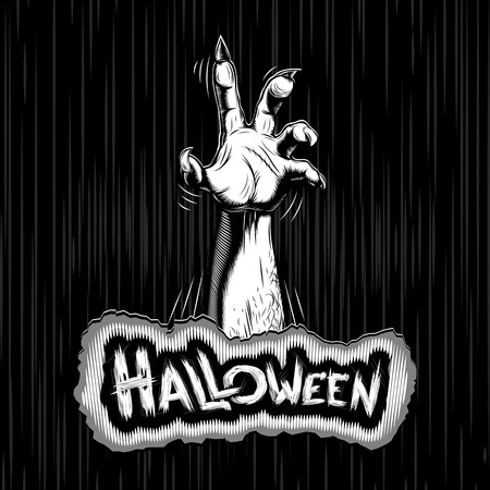 Zombie hand on Halloween; Vector background Illustration