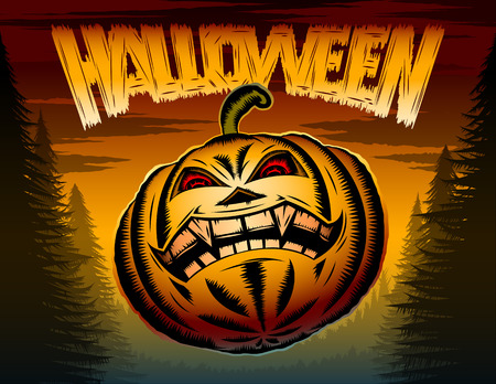 nasal cavity: Halloween Pumpkin with eyes and toothy mouth in a terrible night forest; Vector poster background for holiday of evil spirits and devilry Illustration