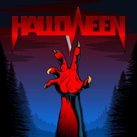 Halloween achtergrond met zombie hand in de nacht bos met de titel van de boze geesten vakantie met bloed op het mes; vector poster