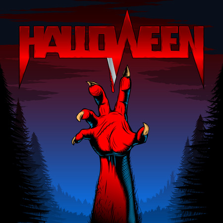 Halloween background with zombie hand in night forest with title of the evil spirits holiday with blood on the blade; Vector poster