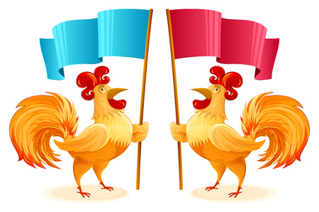 Roosters for New Year 2017 holding blue and red flags Illustration